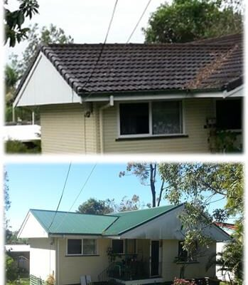 Tile to metal reroof before and after