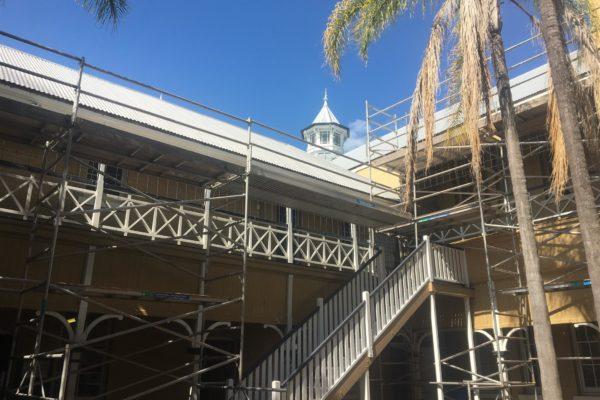Reguttering works in progress using scaffold (2 of 2)